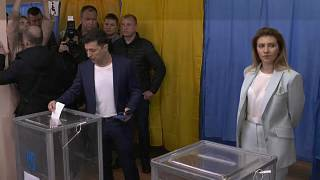 Presidential candidate Volodymyr Zelensky casting his vote