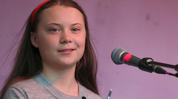 Swedish environmental activist Greta Thunberg speaking to crowds in London