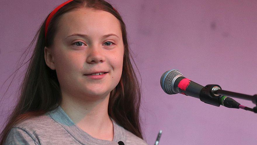 Swedish environmental activist Greta Thunberg speaking to crowds in London