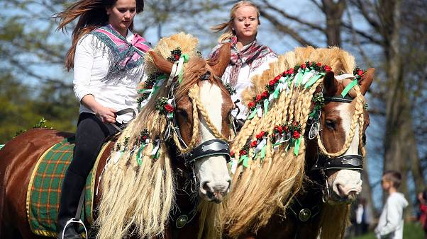 Pilgrims attend Georgi horse riding procession in Traunstein