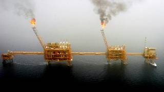 An oil production platform at the Soroush oil fields