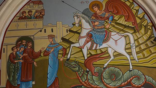 St. George slays the dragon. Georgian fresco