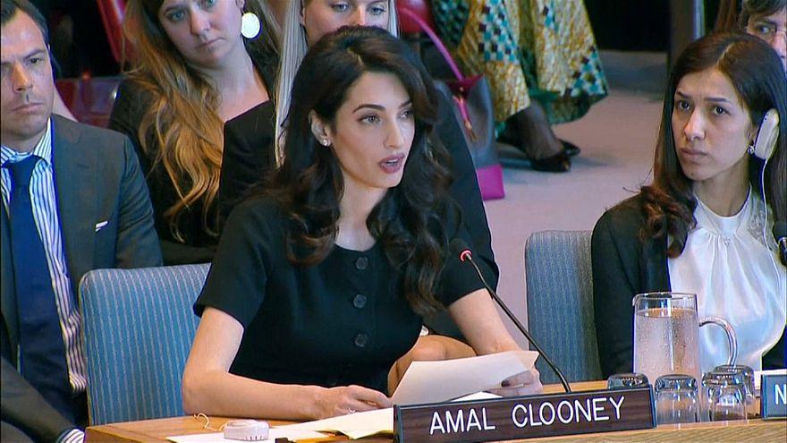 أمل كلوني خلال مناقشتها القرار في مجلس الأمن