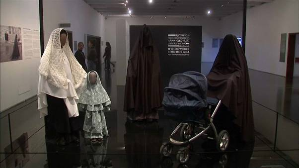 Veils on mannequins at the exhibition