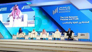 وزير المالية السعودي محمد الجدعان يتحدث خلال مؤتمر القطاع المالي في الرياض