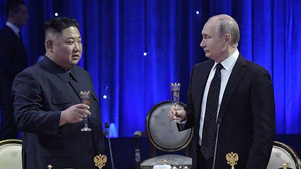 Vladimir Putin and Kim Jong Un discuss security guarantees in first summit