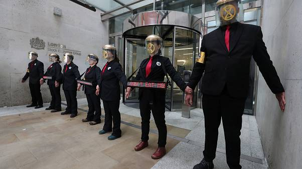 Extinction Rebellion Activists in front of the London Stock Exchange