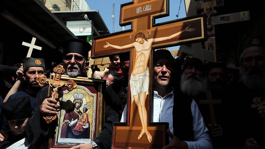 Orthodoxe Christen feiern Karfreitag in Jerusalem