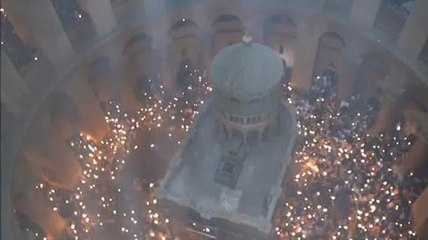 Orthodox christians celebrate Holy Fire in Jerusalem