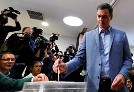 Socialist Workers' Party (PSOE) candidate Pedro Sanchez casts his vote