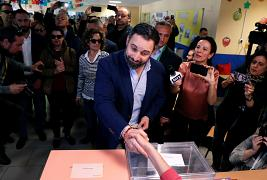 Spain's far-right party VOX candidate Santiago Abascal casting his vote
