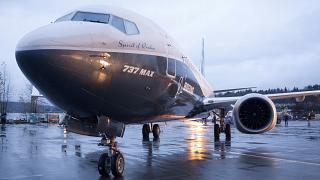A Boeing 737 MAX 8 sits outside the hangar in Renton, Washington.