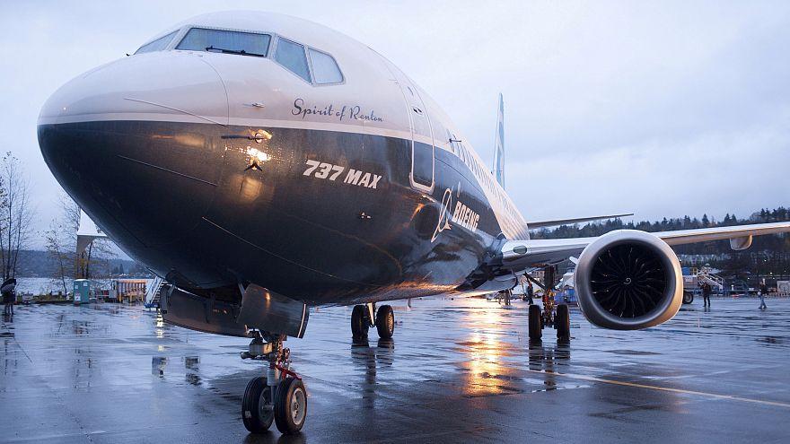 A Boeing 737 MAX 8 sits outside the hangar in Renton, Washington.