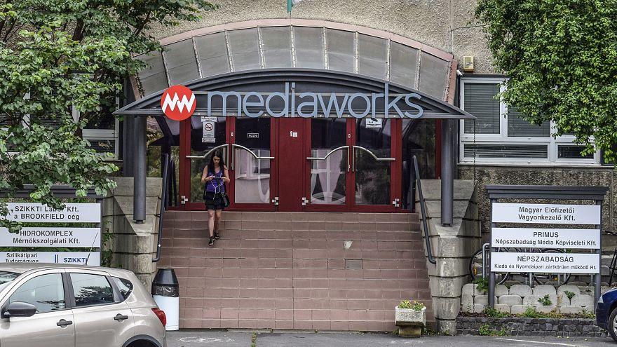 Mediaworks (volt Népszabadság) épületének bejárata Budapesten