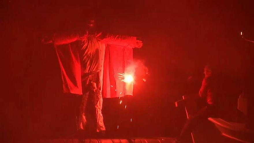 The Judas effigy is set alight as a symbolic punishment for treason