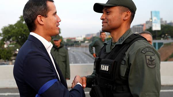 Guaido was accompanied by members of the military.