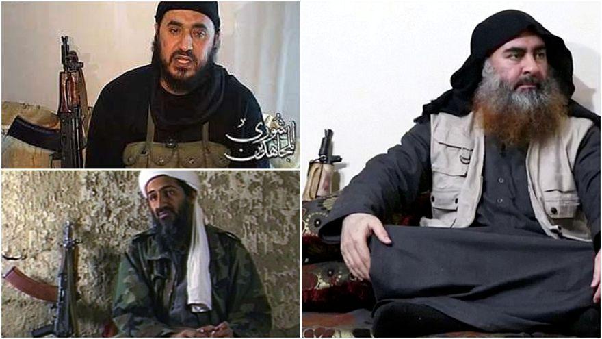 أبو بكر البغدادي (يمين) أبو مصعب الزرقاوي (فوق) وأسامة بن لادن (أسفل يسار)