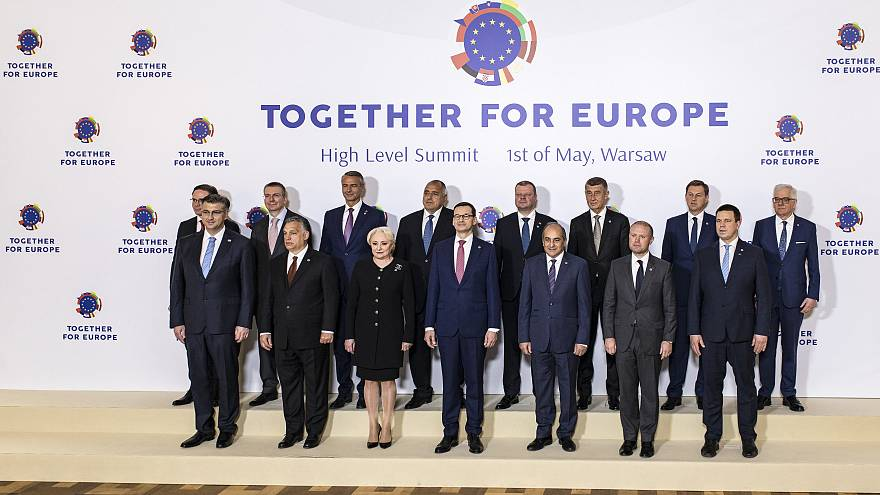 Leaders of the 13 countries which joined the EU since 2004 on May 1, 2019