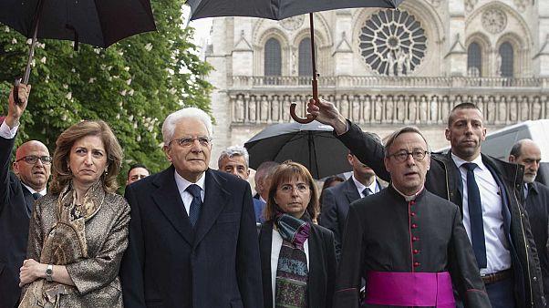 Le président italien rend visite à Notre-Dame