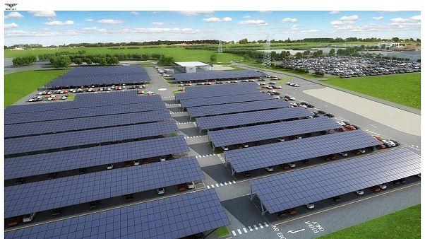 Bentley motors builds the UK's largest solar-powered car port