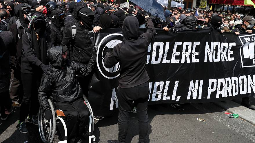 Black Bloc ahead of May Day protests, 1 May 2019