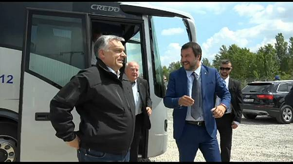 Orban and Salvini inspect Hungary's border fence with Serbia