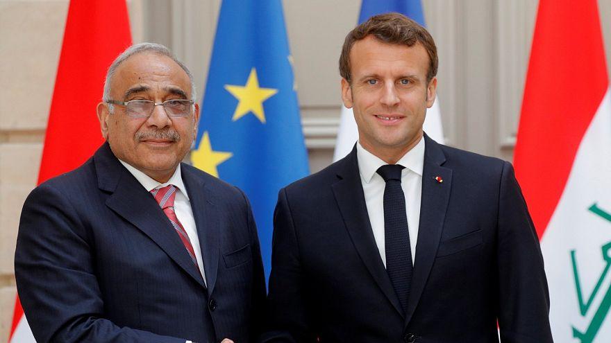 الرئيس الفرنسي إيمانويل ماكرون يستقبل رئيس الوزراء العراقي عادل عبد المهدي