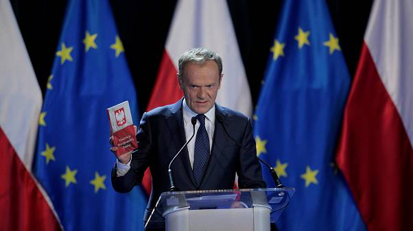 Donald Tusk gives a lecture at Warsaw University, May 3, 2019