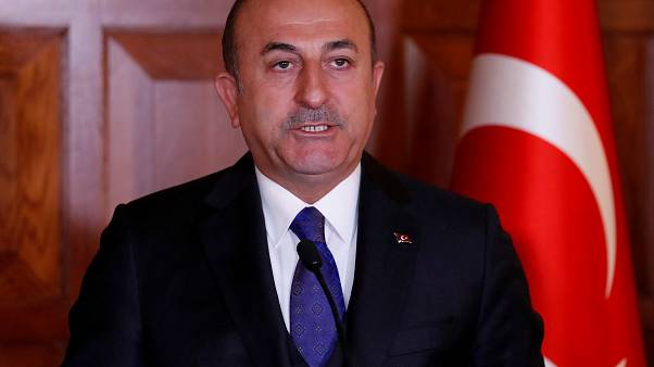 وزير الخارجية التركي خلال مؤتمر صحفي في أنقرة
