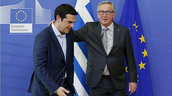 الکسیس سیپراس نخست وزیر یونان و کارل یونکر رئیس کمیسیون اروپا
