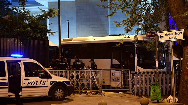 Police outside the election panel offices in Ankara