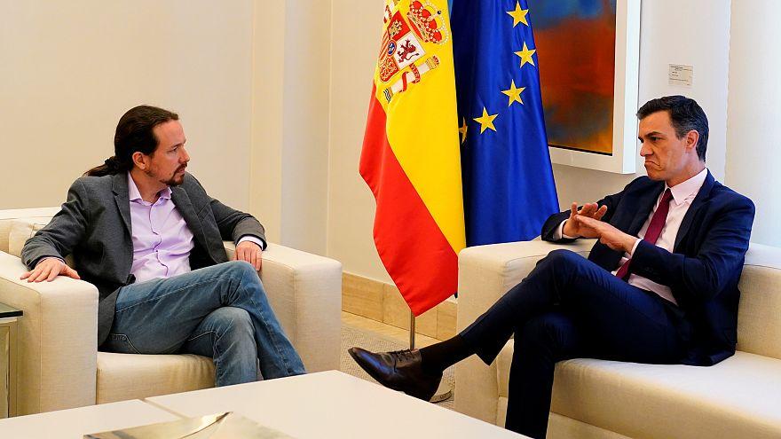 Acting Spanish PM Pedro Sanchez meets with Podemos leader Pablo Iglesias