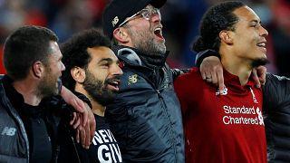 احتفالات ليفربول بالعودة في النتيجة أمام برشلونة