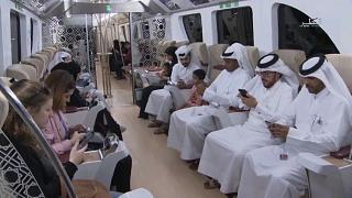The trains, which boast airplane-style seats, will run across Doha