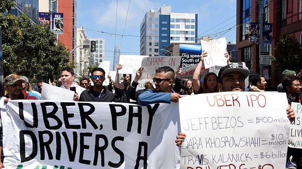 Les chauffeurs Uber en grève avant l'entrée en bourse de la plateforme de VTC