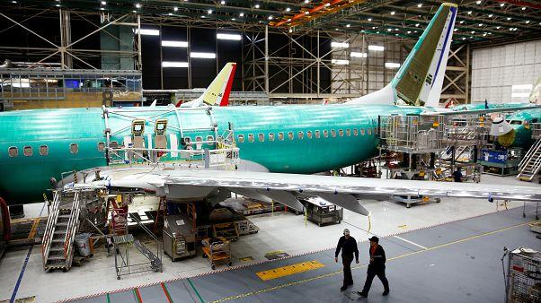 طائرة 737 ماكس في مصنع بوينج في رنتون بواشنطن يوم 27 مارس آذار 2019