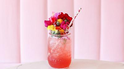 Pink sustainable cocktail
