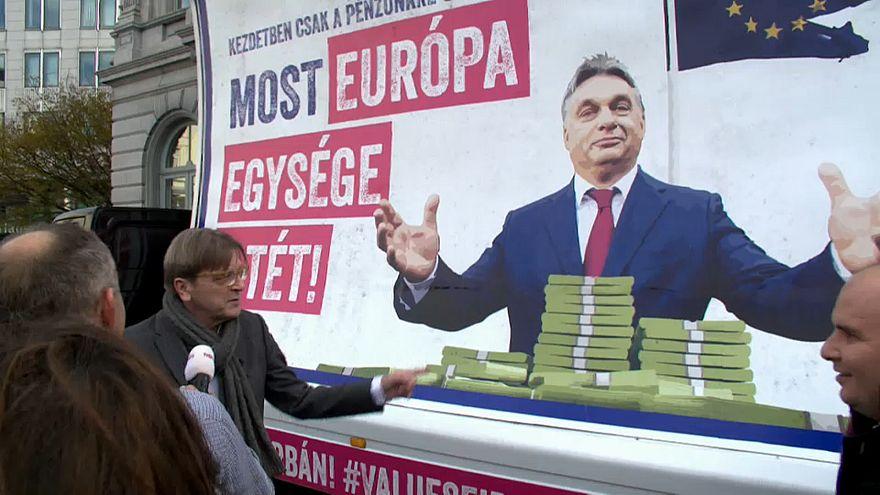 ALDE leader Guy Verhofstadt had a poster war with Hungary's Viktor Orban