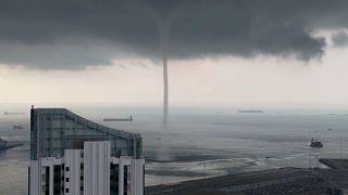 Watch: Waterspout swirls near Singapore shore
