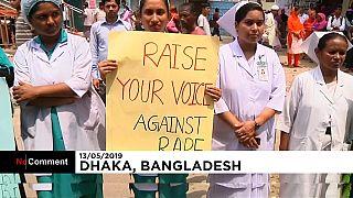Manifestation après le meurtre d'une infirmière au Bangladesh