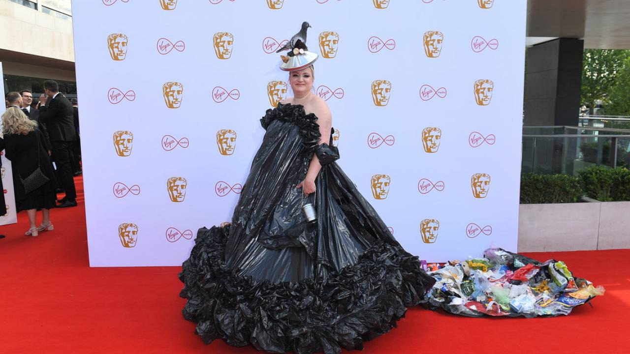 Daisy May Cooper in a bin bag dress, BAFTA TV awards May 2019