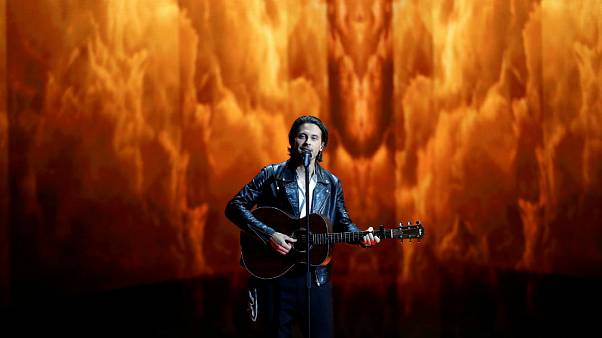 Estonia's Victor Crone performs ahead of the semi-final of Eurovision 2019