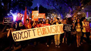محتجون مناصرون للفلسطينيين يطالبون بمقاطعة مسابقة يوروفيجن في إسرائيل
