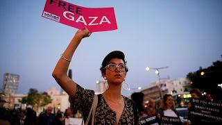 Israelíes protestan en Tel Aviv a favor de Palestina en vísperas de Eurovisión