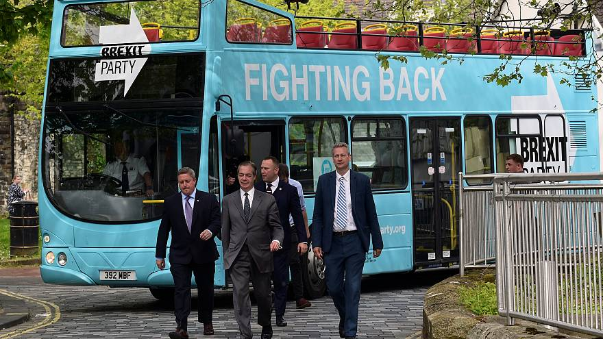 Brexit Party leader Nigel Farage arrives for a Brexit Party campaign event.