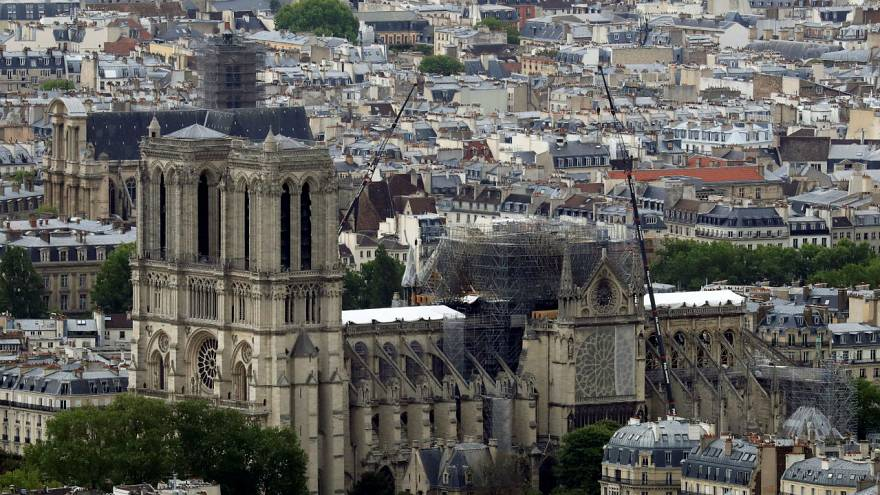 A view shows Notre-Dame Cathedral after the fire.