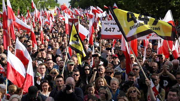 People take part in far right protest in Warsaw
