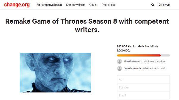Game of Thrones hayranlarından imza kampanyası: Son sezon yeniden çekilsin