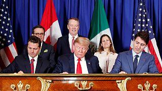 Peña Nieto, Trump e Trudeau em novembro, ratificando o novo NAFTA