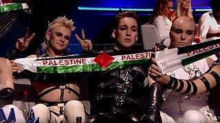Iceland's Hatari raises Palestinian flags during Eurovision results
